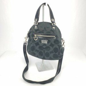 COACH BLACK BAG PURSE Shoulder Handbag Logos Heart
